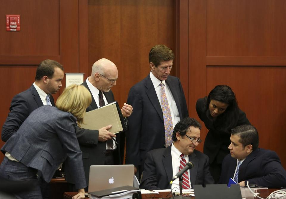 George Zimmerman's defense team conferred with him during jury selection. He's charged with second-degree murder in the shooting death of 17-year-old Trayvon Martin.