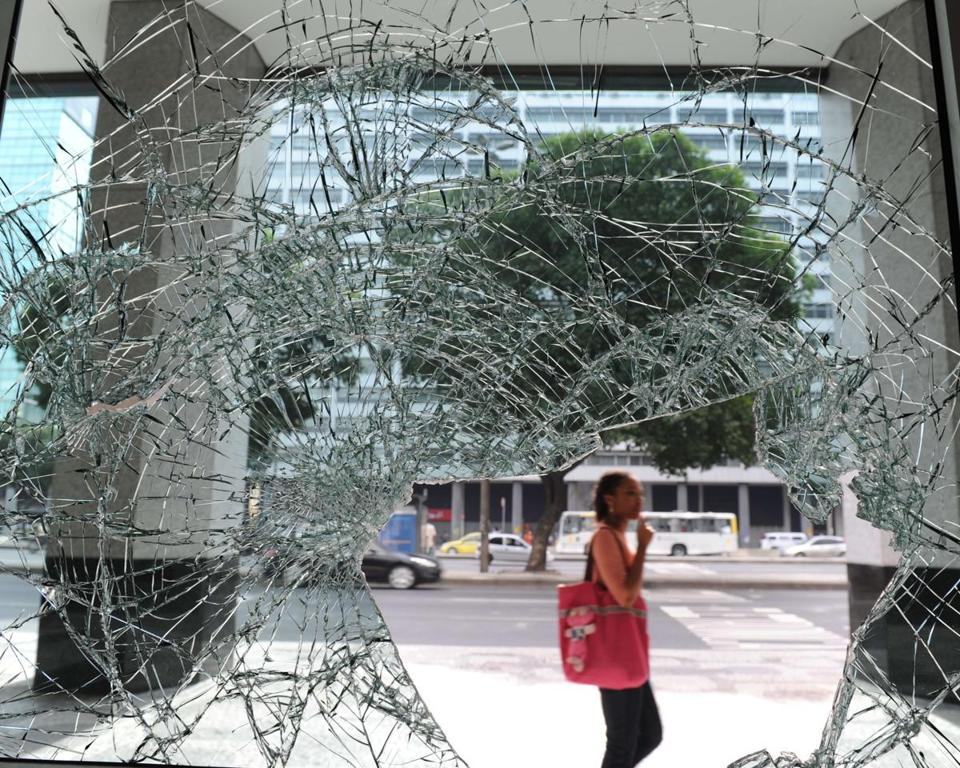 Protesters looted stores in Rio, angry at woeful public services despite a high tax burden.