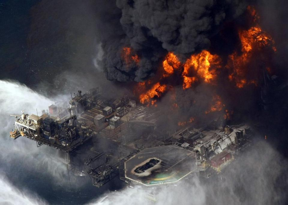 The Deepwater Horizon oil rig exploded and burned in 2010 in the Gulf of Mexico southeast of Venice, La.