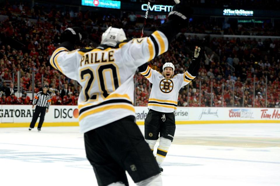 Daniel Paille scored in OT to end Game 2 — one of three Stanley Cup Final games (so far) that needed extra time.