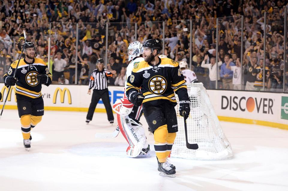 Rich Peverley celebrated after scoring a goal in the first period in Game Four.