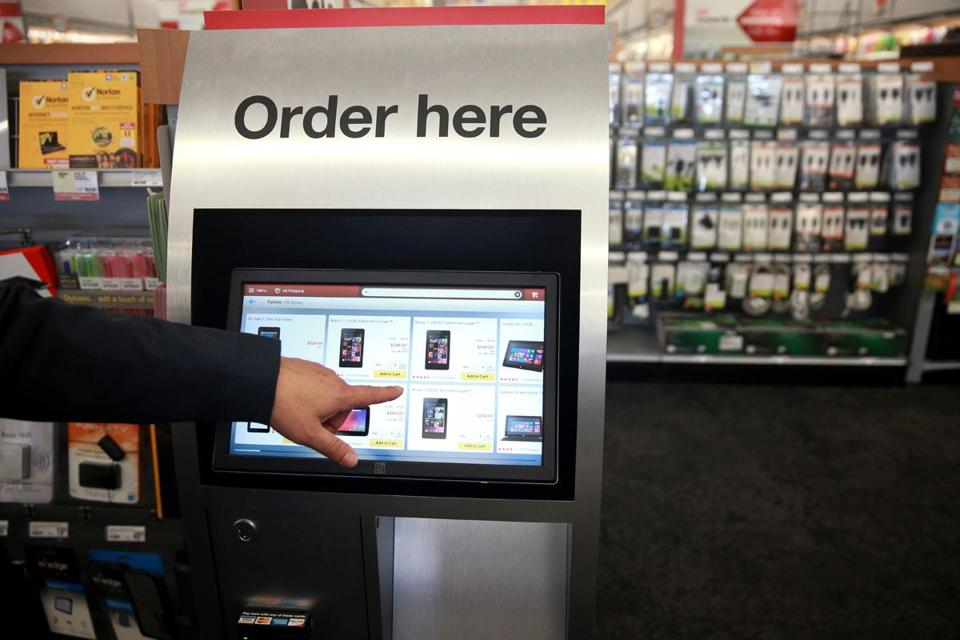 Staples kiosks allow customers to buy online what they can't find in stores.