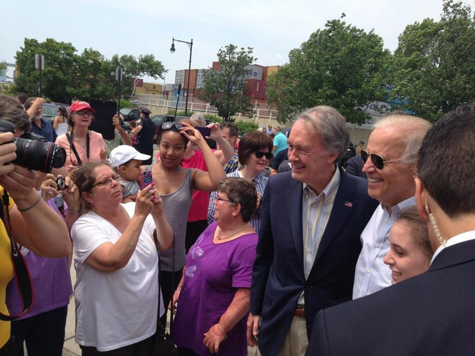 Vice President Joe Biden campaigned with US Senate candidate Edward Markey today.