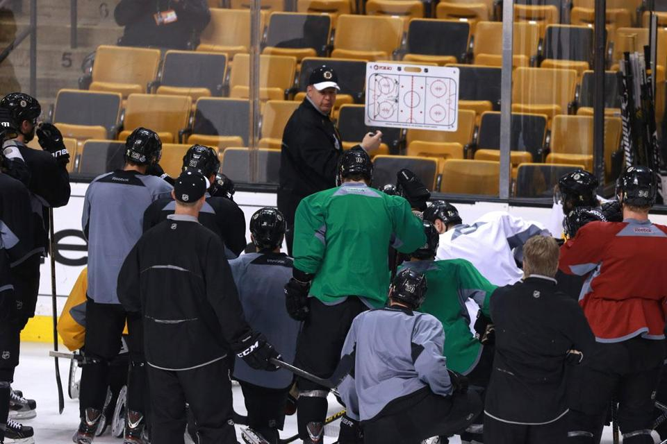 Coach Claude Julien and the Bruins practiced at TD Garden Friday before leaving for Chicago for Saturday's Game 5.