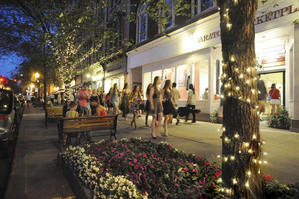 Downtown Saratoga Springs  bustles day and night during the summer.