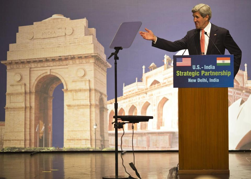 During the second stop of his two-week swing through the Mideast and Asia on Sunday, Secretary of State John F. Kerry spoke on climate change in New Delhi.