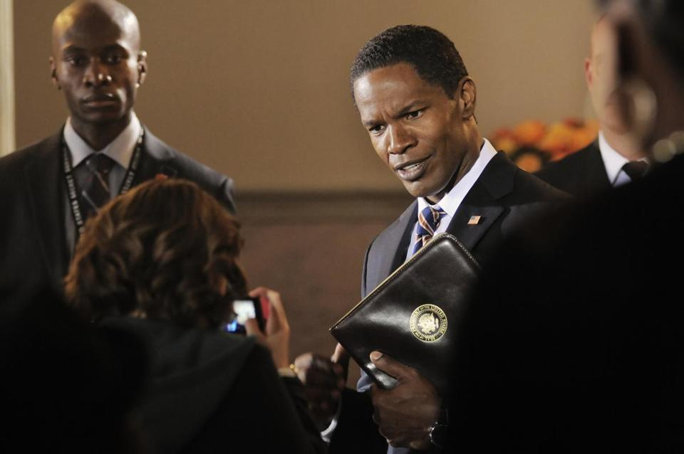 "Jamie Foxx as the President in ""White House Down."""