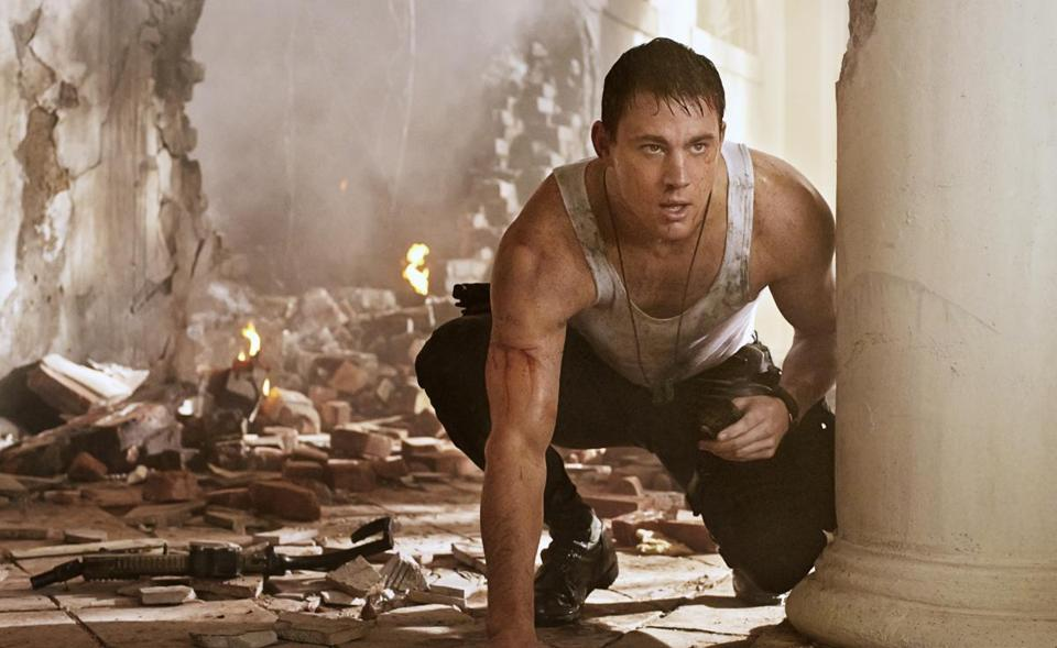 "Channing Tatum (pictured) as a Secret Service wannabe and Jamie Foxx as the president in ""White House Down."""