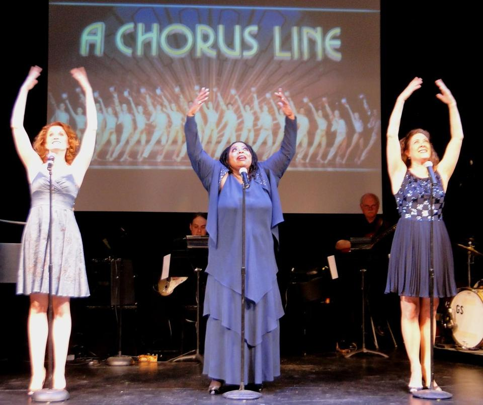 "From left: Christiane Noll, Carol Woods, and Karen Ziemba in the Cape Playhouse production of ""They're Playing His Songs: The Music of Marvin Hamlisch."""