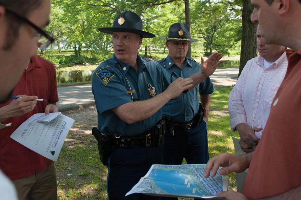 State Police Captain Paul D'Amore (left) and Lieutenant Mark Horgan briefed reporters on security plans at the Esplanade.