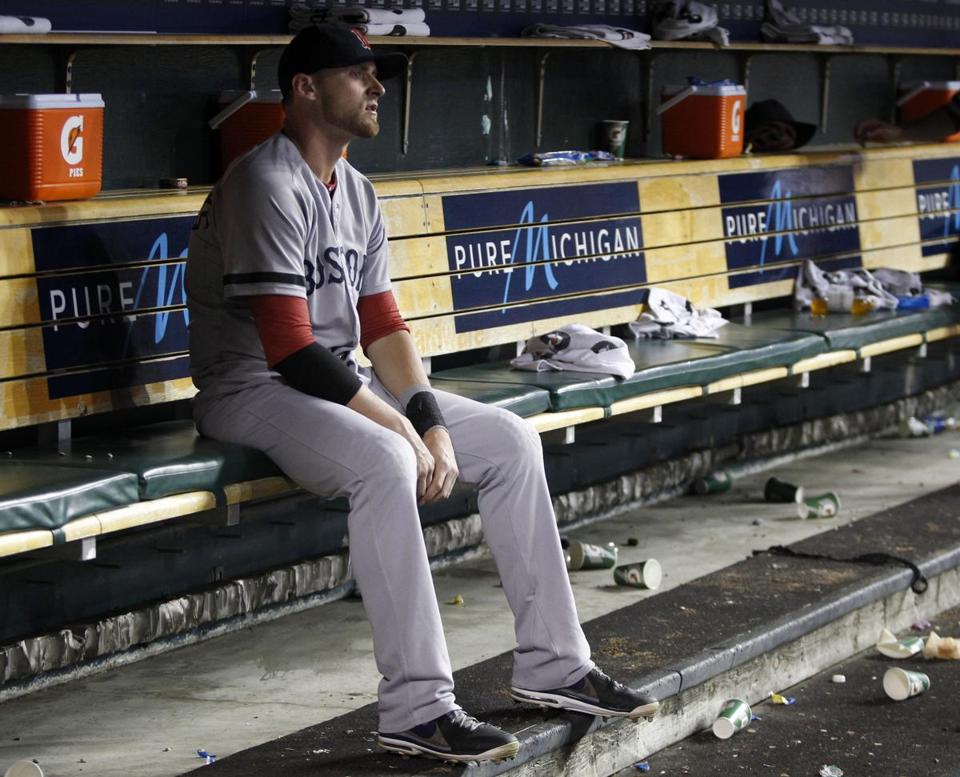 Will Middlebrooks sat in the dugout after a 4-3 loss to the Tigers in Detroit.