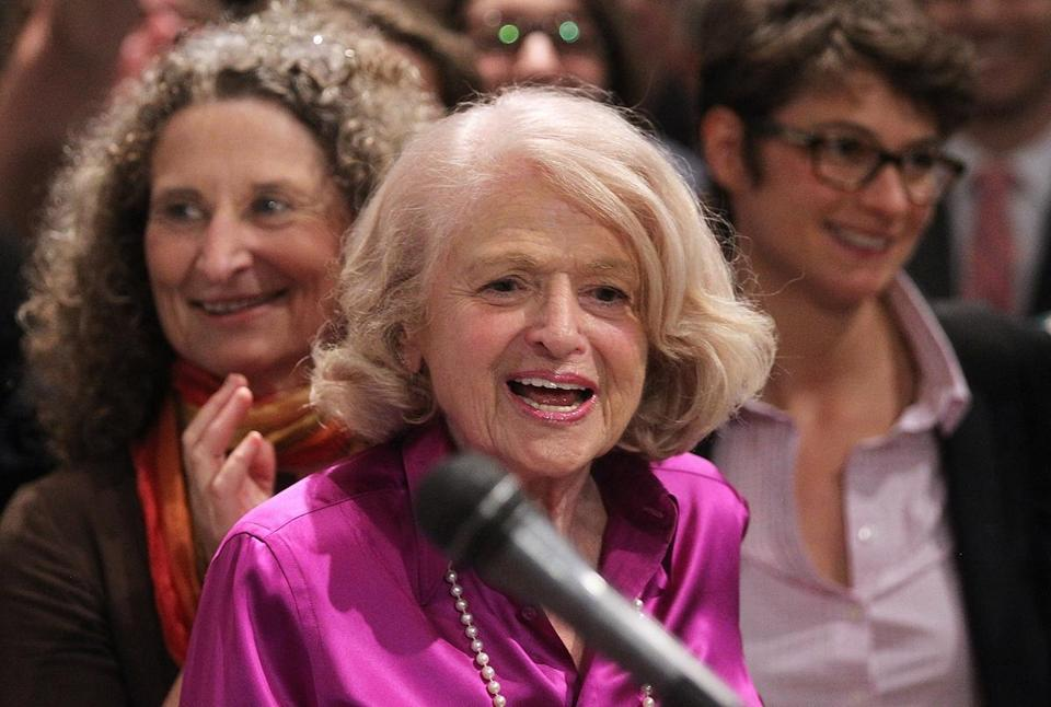 DOMA plaintiff Edith Windsor spoke in Manhattan following the Supreme Court ruling.