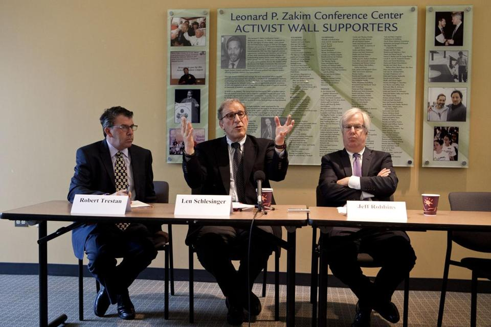 Babson College president Leonard Schlesinger  (center) publicly apologized to Brandeis Wednesday with the Anti-Defamation League's Robert Trestan  (left) and Jeff Robbins.