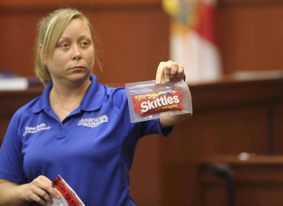 Diana Smith, a police crime scene technician, held up evidence during George Zimmerman's trial in Sanford, Fla.