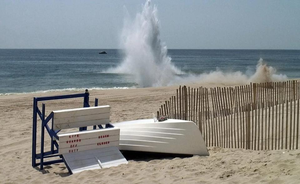 Water shot 125 feet in the air and a boom echoed through town as a suspected mine was detonated in Bay Head, N.J.