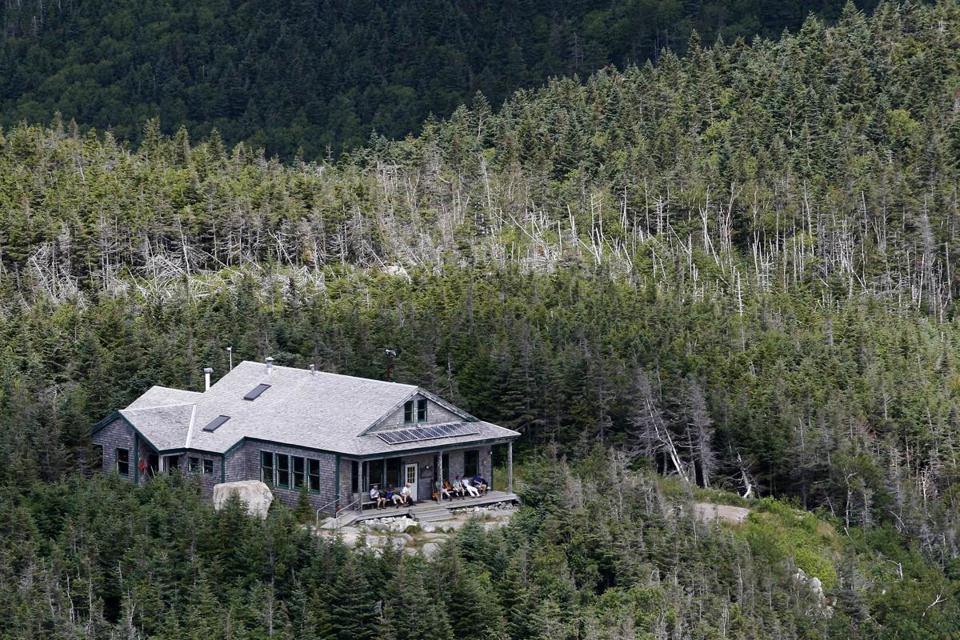Hikers rested at the Galehead Hut on Mount Lafayette in Franconia, N.H., part of the Appalachian Mountain Club system.