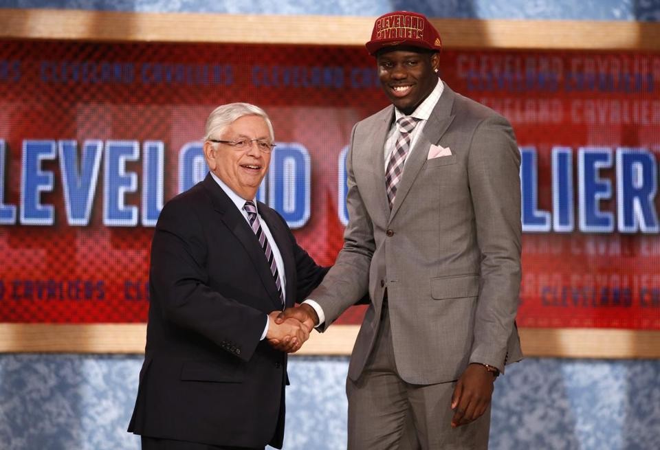 UNLV's Anthony Bennett (right) shook hands with NBA Commissioner David Stern after being selected by the Cavaliers as the No. 1 overall pick in the 2013 NBA Draft.