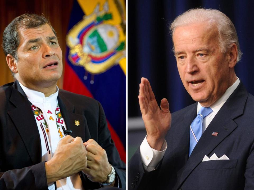 Ecuador President Rafael Correa (left) and US Vice President Joe Biden.