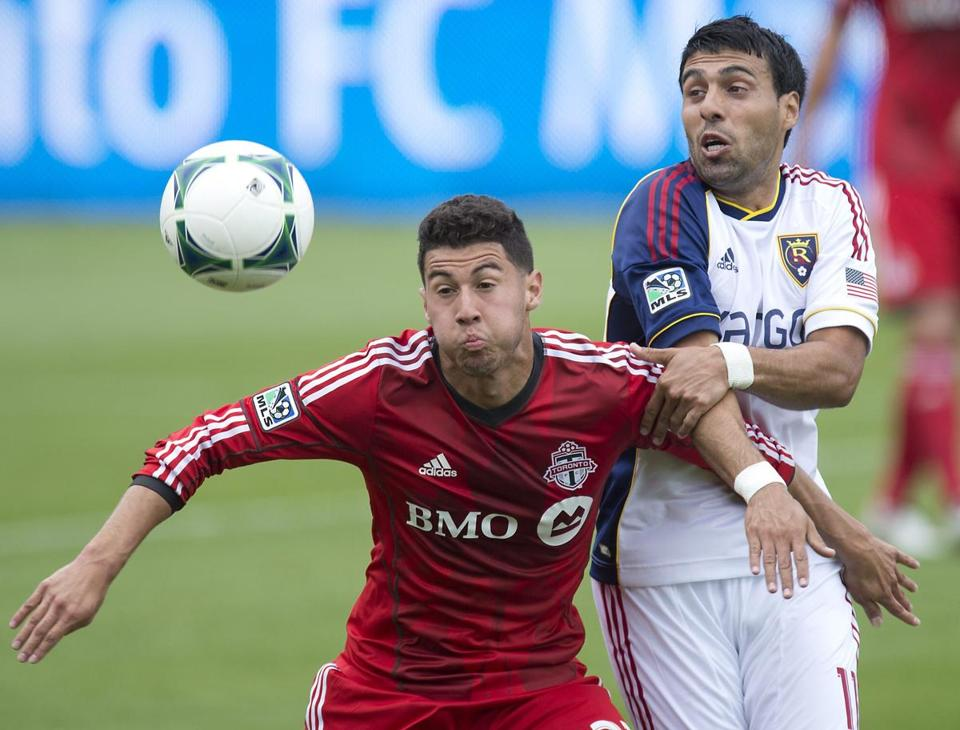 Salt Lake's Javier Morales (right, with Jonathan Osorio) saw his efforts rewarded, assisting on the game's lone goal.