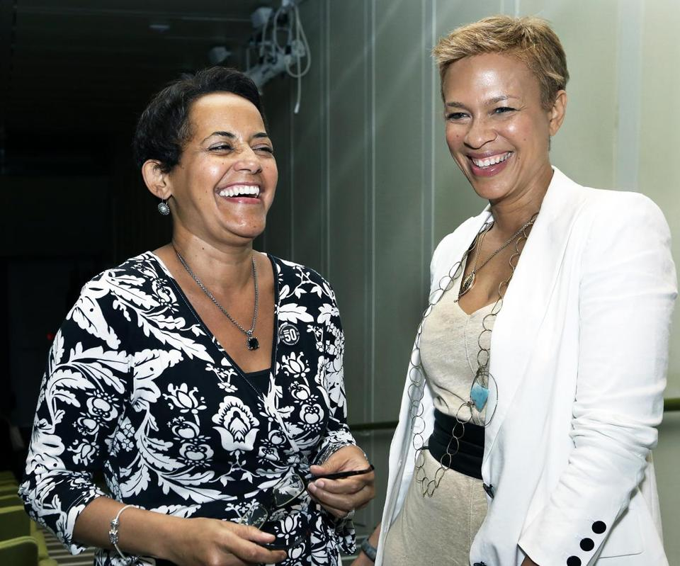 Lisa Simmons (left), director of the Roxbury International Film Festival, with special guest Tonya Lewis Lee.