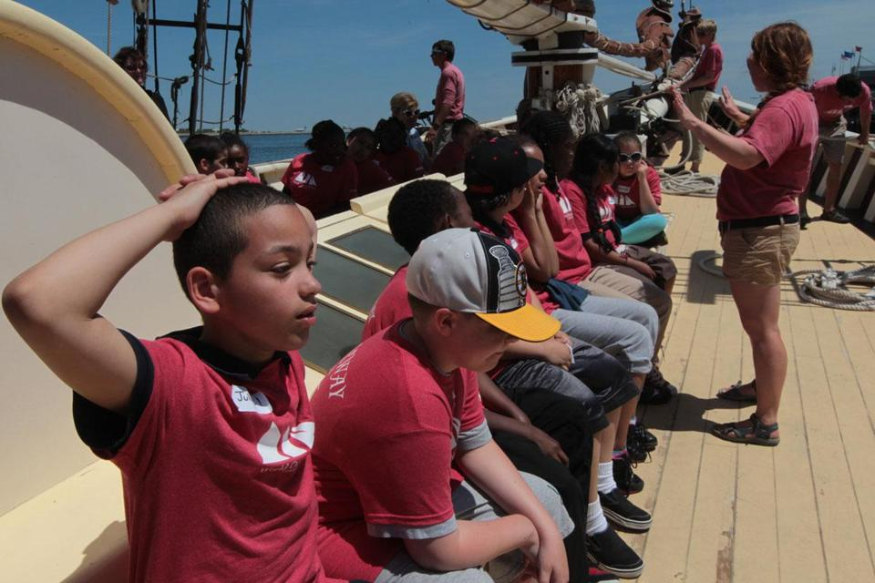 Julius Anaya and other Harvard Kent School fourth-graders attended World Ocean School aboard the Roseway.