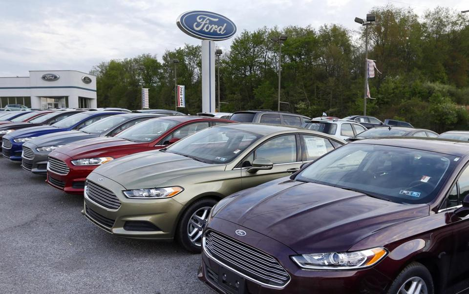 Ford Fusions at a Pennsylvania dealership. Sales of the automaker's Fiesta subcompact more than doubled in June.
