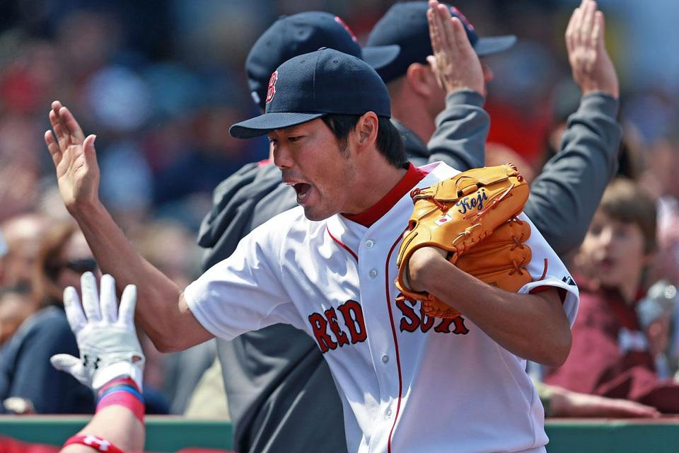 Reliever Koji Uehara has brought high-fivin', teammate-huggin', fist-pumpin', glove-slappin' excitement to the Red Sox.