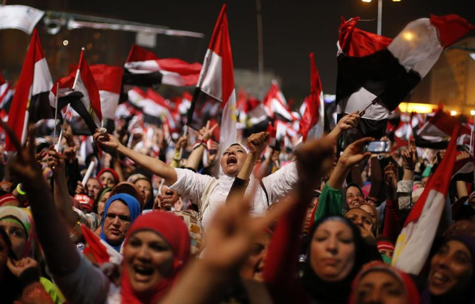 President Mohammed Morsi's opponents celebrated his ouster in Cairo's Tahrir Square.