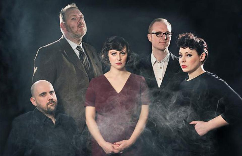 Singer and songwriter Tracyanne Campbell (center), is excited about Camera Obscura's new album, which she says moves away from the band's previous wall-of-sound approach.