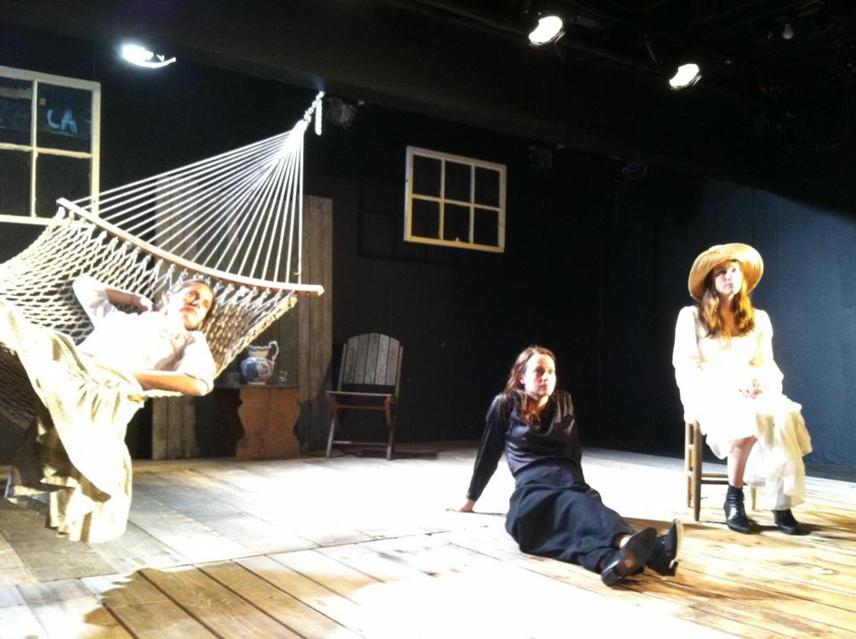 "From left: Brenda Withers, Stacy Fischer, and Amanda Collins in Harbor Stage Company's production of  ""The Seagull."""