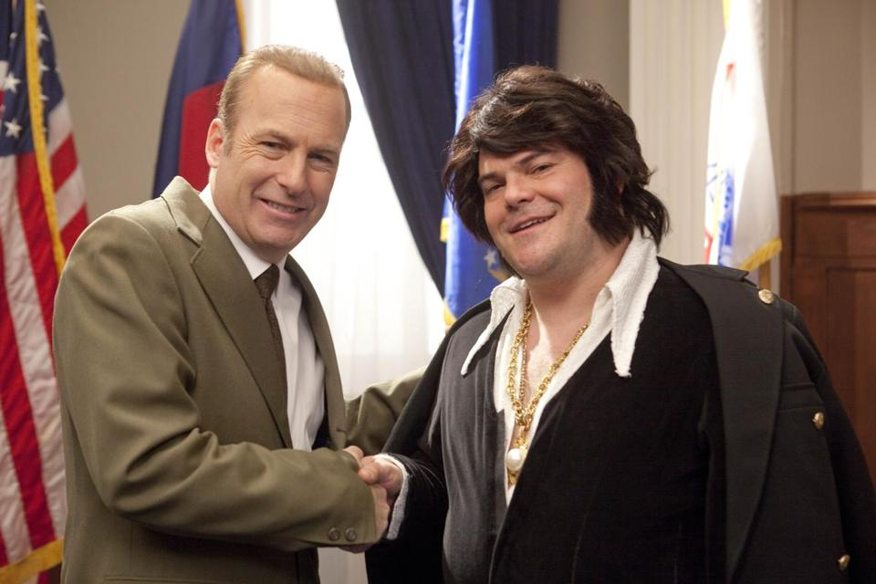 "Bob Odenkirk as President Nixon and Jack Black as Elvis Presley in an episode of ""Drunk History."""