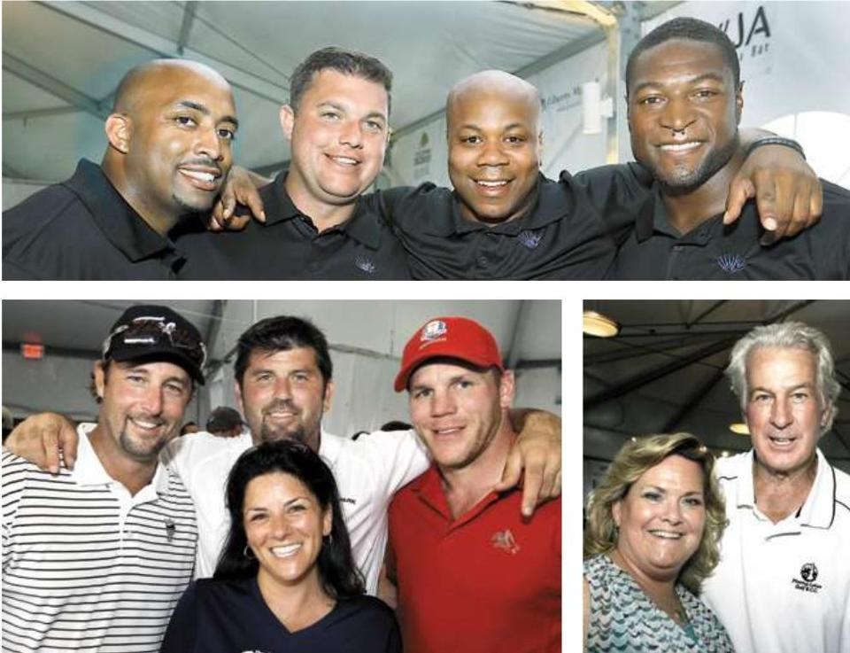 Top (from left): Former Patriots player Mike Richardson, Charlie Larner of Charlestown, Leon Denton of Milton, and former player Eric Alexander. Above (from left): Tim Wakefield and Jason Varitek, Pitching in for Kids cofounder Sara Youngelson, and Shawn Thornton; and Cathy Libin of Natick and Dr. Jim Lonborg.