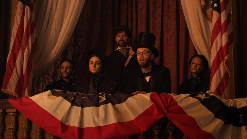 "Adam Scott as John Wilkes Booth and Stephen Merchant as President Lincoln in the premiere episode of Comedy Central's ""Drunk History.''"