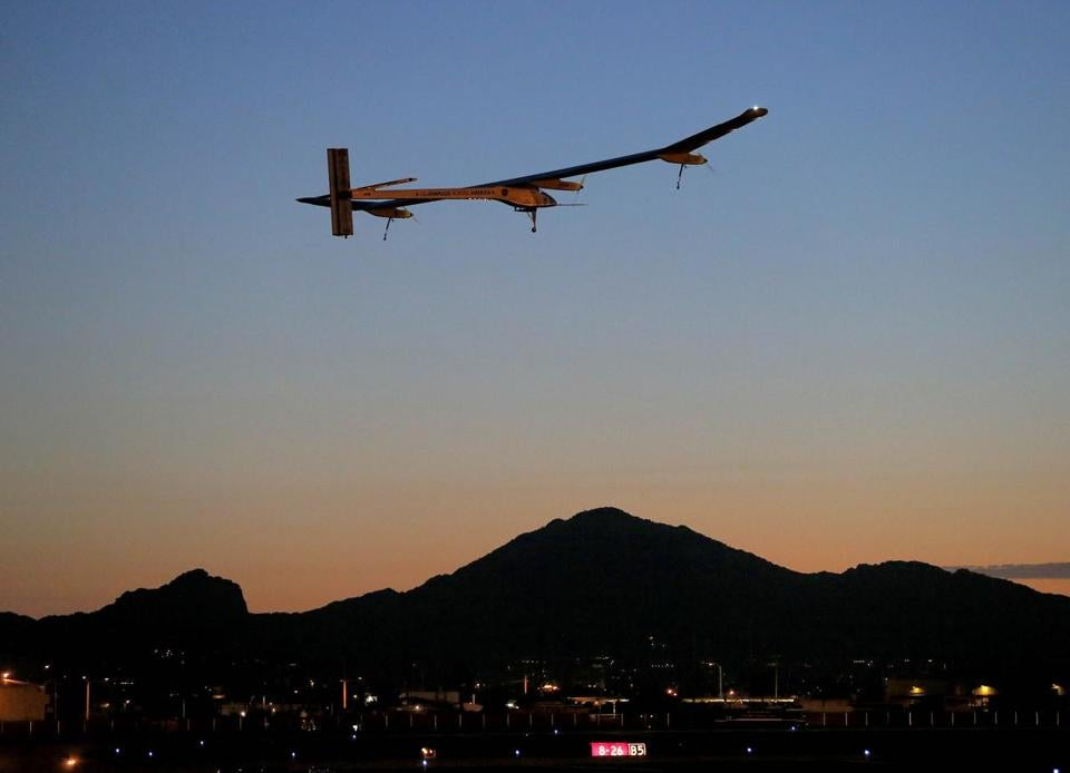 A solar-powered plane began its cross-country trip May 3 in San Francisco. It travels at a top speed of 45 miles per hour.
