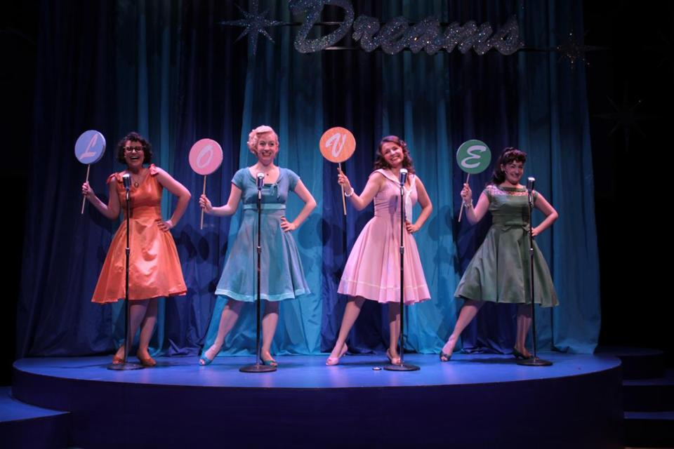 "From left: Tess Primack, Laura Graczyk, Lee Harrington, and Brittany Rolfs in Stoneham Theatre's ""The Marvelous Wonderettes."""
