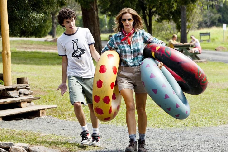 "Rachel Griffiths and Charles Grounds play mother and son in NBC's new ""Camp."""