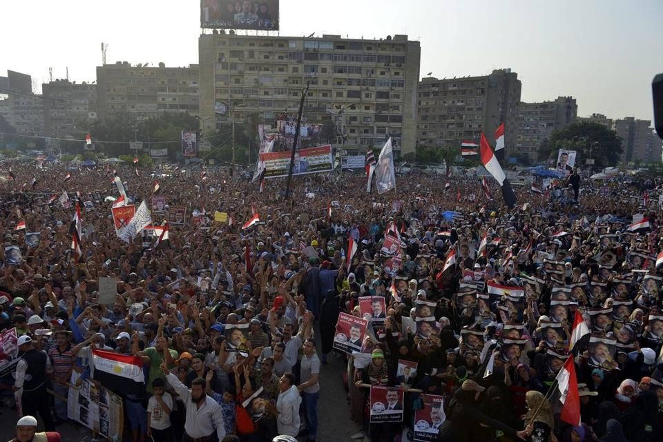 Thousands of Egyptian supporters of ousted president Mohamed Morsi rallied in Cairo on Monday.