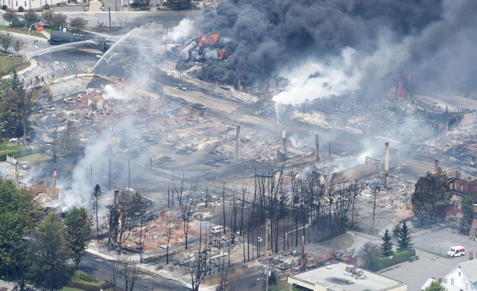 Downtown Lac Megantic, Quebec, Canada, was devastated in the explosion and fire.