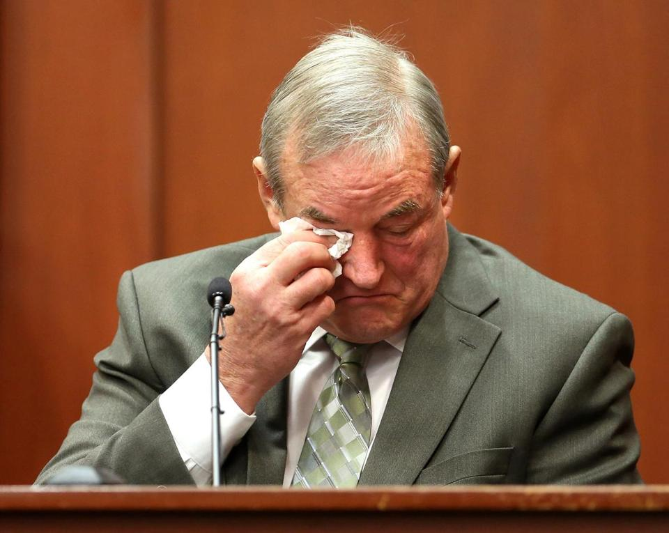 John Donnelly, a friend of George Zimmerman, cries on the witness stand after listening to screams on the 911 tape entered in evidence during Zimmerman's trial in Seminole Circuit Court, in Sanford, Fla., Monday, July 8, 2013. Donnelly identified the screams as belonging to Zimmerman. Zimmerman is charged with second-degree murder in the fatal shooting of Trayvon Martin, an unarmed teen, in 2012. (AP Photo/Orlando Sentinel, Joe Burbank, Pool)