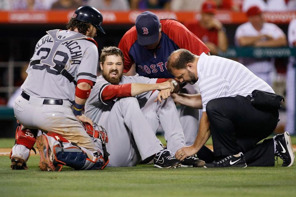 Andrew Miller left Saturday night's game against the Angels in the seventh inning after an awkward movement on the mound resulted in pain.