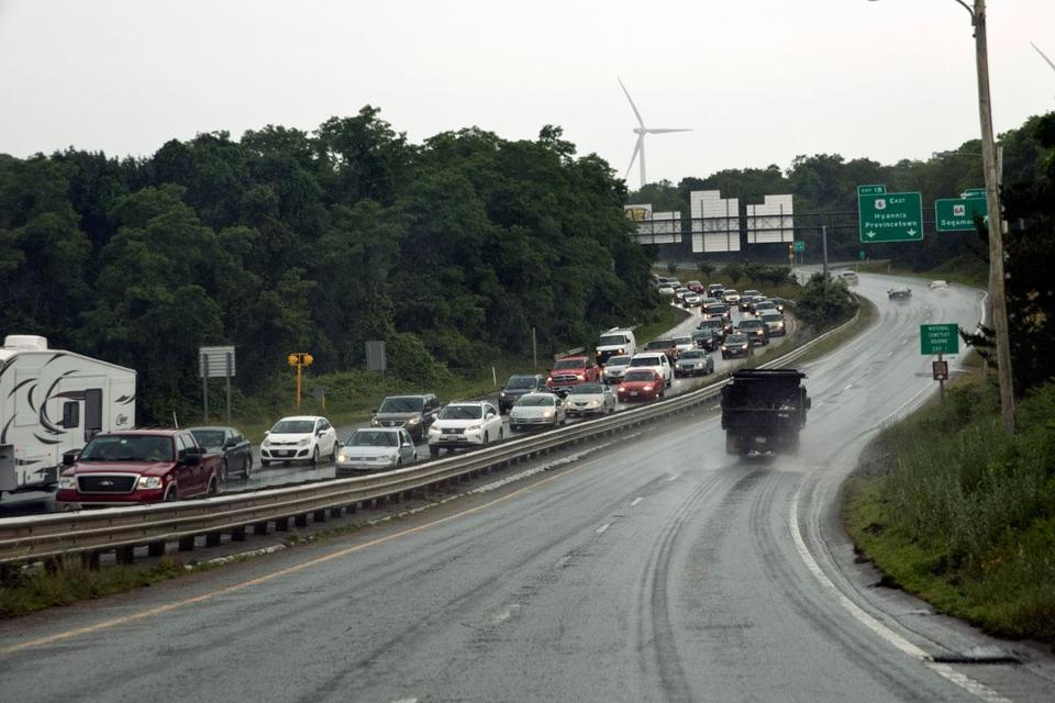 Traffic at the base of the Sagamore Bridge was backed up for miles on both Sunday and Monday.