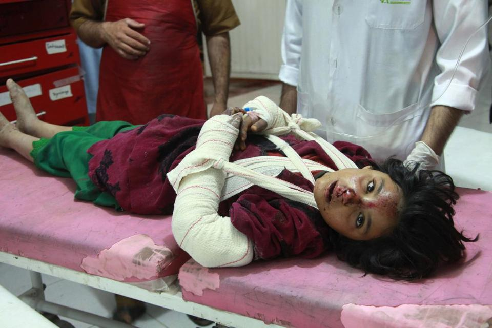 An injured girl was treated at a hospital after a roadside bombing in the Obi district of Herat west of Kabul.