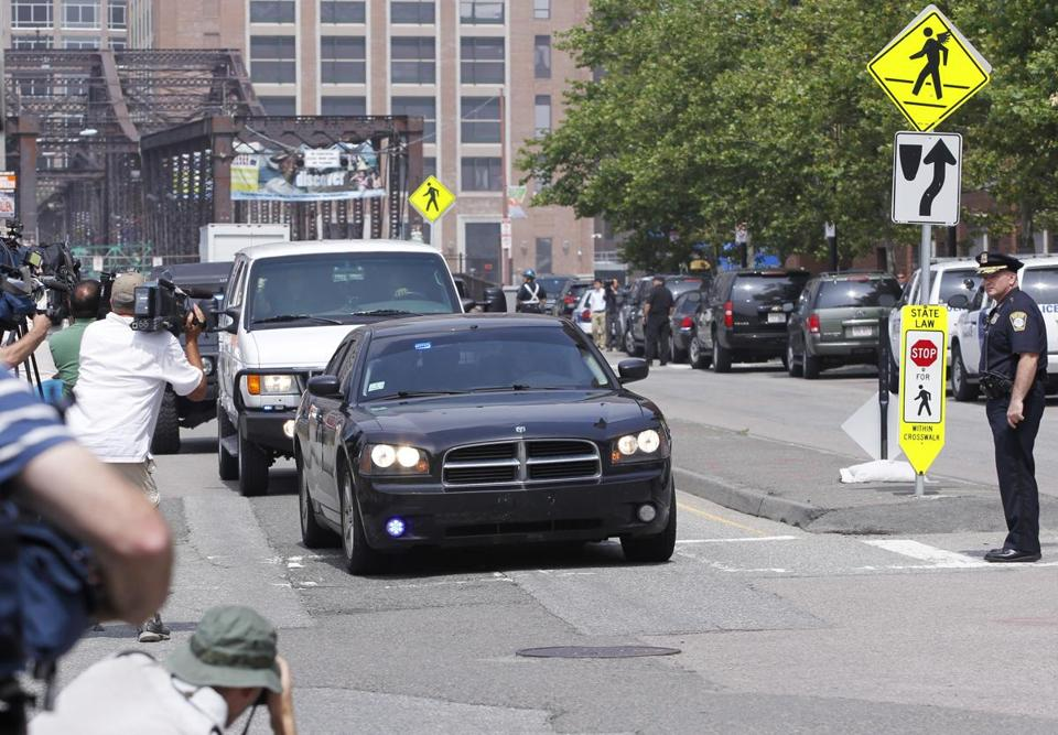 A motorcade carrying alleged Boston Marathon bomber Dzhokhar Tsarnaev arrived at the Moakley Courthouse in Boston on Wednesday.