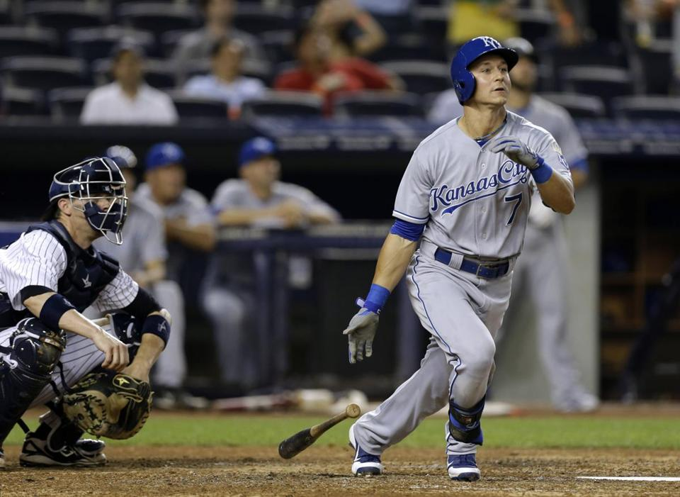 David Lough of the Royals smacks a sixth-inning homer — his third of the season — off CC Sabathia to tie the game.