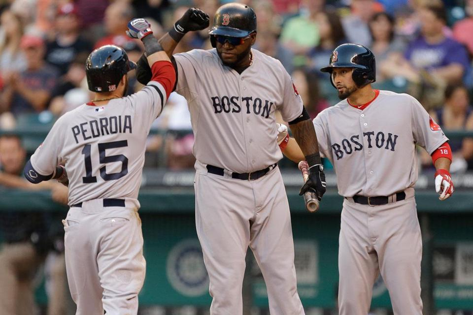 Dustin Pedroia drove in three runs, two with a home run in the third inning that started the comeback.
