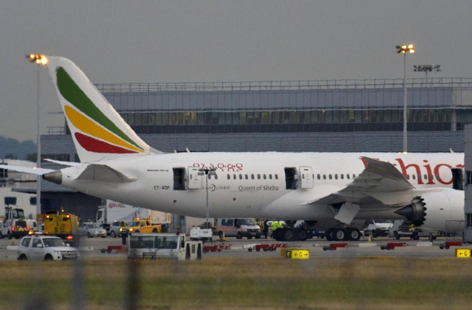Investors were wary of new battery problems on the 787 Dreamliner after a plane caught fire at Heathrow Friday.