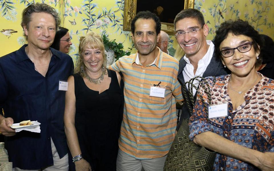 From left: Chris Cooper, Marianne Leone Cooper, Tony Shalhoub, Steven Maler, and Brooke Adams at Commonwealth Shakespeare Company's opening night reception at the Parkman House.