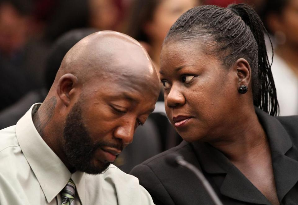 Tracy Martin (left) and Sybrina Fulton attended a House Judiciary Committee briefing on racial profiling and hate crimes in Washington.