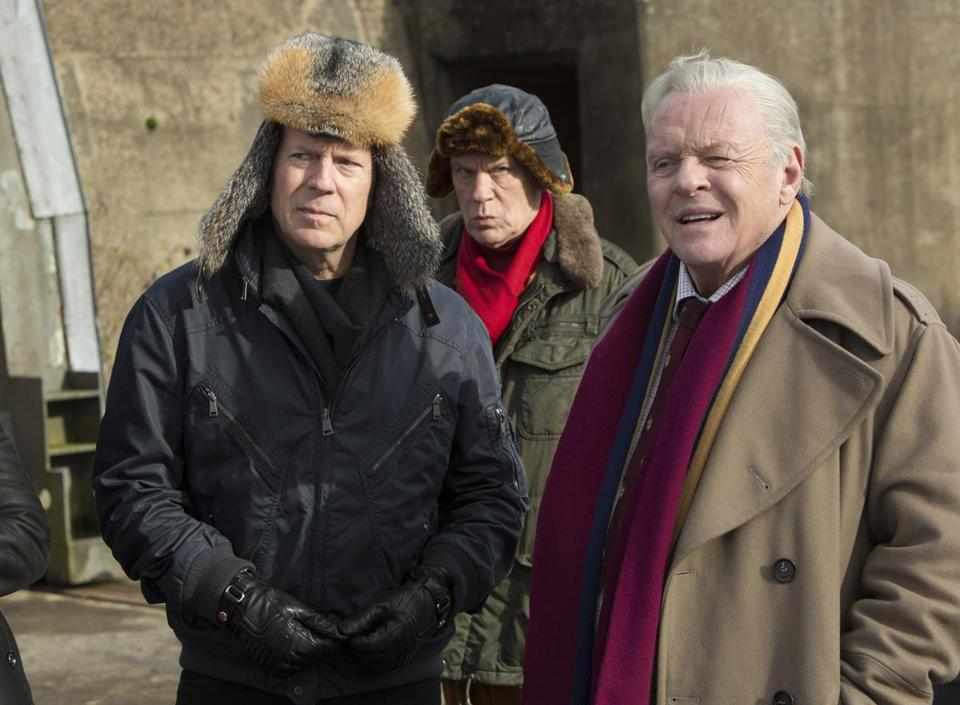 "From left: Bruce Willis, John Malkovich, Anthony Hopkins, Helen Mirren, and Catherine Zeta-Jones in ""RED 2."""