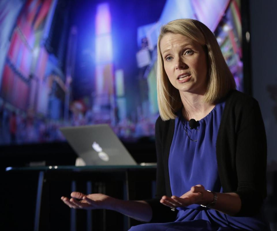 Marissa Mayer, hired as Yahoo's chief executive a year ago, has been credited with improving employee morale and halting a slide in the company's revenues.